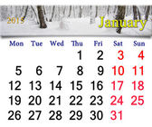 Calendar for the January of 2015 year — Stock Photo