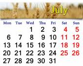 Calendar for the July of 2015 with ribbon of wheat — Stock Photo