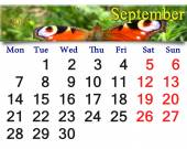 Calendar for September of 2015 year with butterfly — Stock Photo