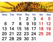 Calendar for July of 2015 with yellow fly on the sunflower — Stock Photo