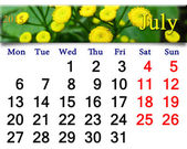 Calendar for July of 2015 with yellow camomiles — Stock Photo
