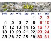 Kalender für Mai 2015 Jahres mit blühenden Kirsche — Stockfoto