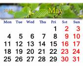 Calendar for May of 2015 year with alder leaves — Stock Photo