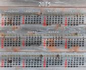 Calendar for 2015 year on the wooden texture — Stock Photo
