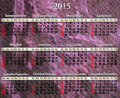Calendar for 2015 year in English and French — Photo