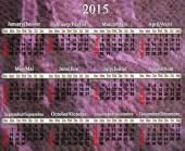 Calendar for 2015 year in English and French — Stock Photo