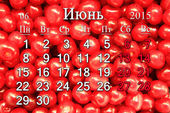 Calendar for June of 2015 year with berries of Prunus tomentosa — Stock Photo