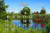 Calendar for June of 2015 year with image of forest lake — Stock Photo