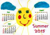 Calendar for summer with childrens drawing — Stock Photo