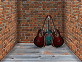 Three guitars in the corner of the room — Foto de Stock