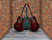 Trois guitares dans le coin de la salle — Photo