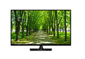 Television set with image of beautiful park isolated — Stock Photo