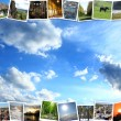 Motley pictures on the blue sky background — Stok fotoğraf #68410727