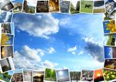 Motley pictures on the blue sky background — Stock Photo