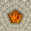Dollar pattern with flame on the background — Stock Photo #69351547
