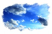 Beautiful summer sky in the painted frame — Stock Photo