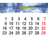 Calendar for February of 2016 with winter river — Stock Photo