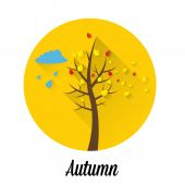 Vector autumn landscape flat style background — Stock Vector