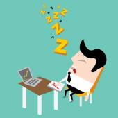 Businessman falling asleep at his work — Stock Vector