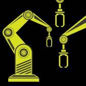 Vector robotic arm symbol. robot hand — Stok Vektör