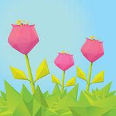 Conceptual polygonal pink spring flower. — Stock Vector