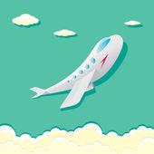 Vector airplane icon. cartoon plane in blue sky — Stock Vector