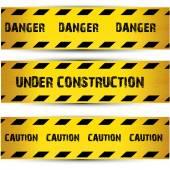 Taśmy ostrzegawcze żółty bezpieczeństwa zestaw ostrożnie — Wektor stockowy
