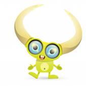 Green Cartoon cute monster — Stock Vector