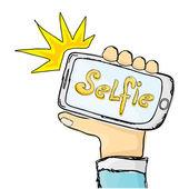 Die Selfie Foto auf Smartphone-Konzept. — Stockvektor