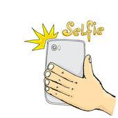 Przy selfie zdjęcie na koncepcji inteligentnego telefonu. — Wektor stockowy
