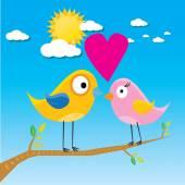 Birds on branch. cartoon summer illustration. — Stock Vector