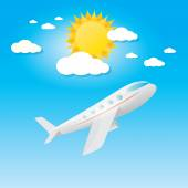 Airplane in blue sky with sun and clouds.  — Stockvektor