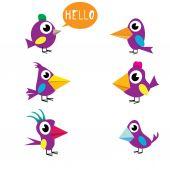 Cute birds collection — Stock Vector