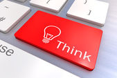 Think keyboard button — Stock Photo