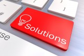 Solutions keyboard button — Stock Photo