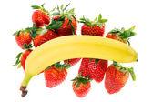Strawberries and banana — Stock Photo