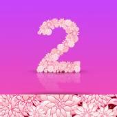 Floral number 2 font — Stock Vector