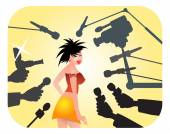 Superstar with paparazzi illustration — Stock Vector