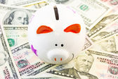 Piggy bank and dollars — Stock Photo