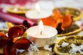 Christmas tea light candle — Stock Photo