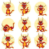 Chinese Dragon Mascot Emoticons Set — Stock Vector