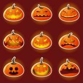 Halloween Pumpkin Character Emoticon Icons — Cтоковый вектор