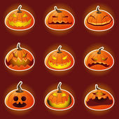 Halloween Pumpkin Character Emoticon Icons — Vecteur