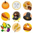 Happy Thanksgiving Sticker Icon Set — Vettoriale Stock  #57121807