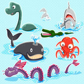 Monsters Of The Deep Blue Sea Collection Set — Stock Vector