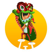 Chinese New Year Lion Dance — Stock Vector