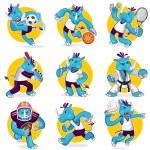 Rhino Sports Mascot Collection Set — Stock Vector #61321293