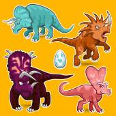Triceratops Rhino Dinosaurs Sticker Collection Set — Stock Vector