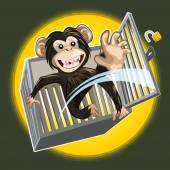 Baby Chimpanzee Breaking A Cage — Stock Vector