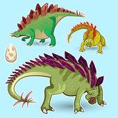 Stegosaurus Dinosaurs Sticker Collection Set — Stock Vector